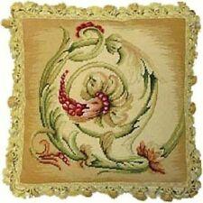 "18"" x 18"" Handmade Wool Needlepoint Petit Point Wheat Scroll Pillow with Tassels"
