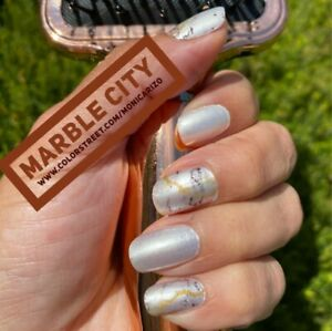 Color Street MARBLE CITY (White Shimmer Grey Gray Black Gold Stone Winter)