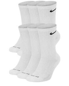 Nike Men's Everyday Plus Cushioned Crew Socks 3 OR 6 Pack WHITE SX6897