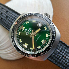 Vintage Nivada Grenchen Compensamatic Diver Watch w/Rare Mint Emerald Green Dial