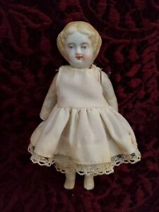 Antique/Vintage Unmarked Miniature Parian Head Doll Painted Features Molded Hair