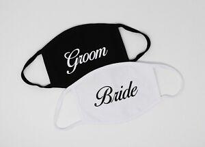 Couples Face Mask Set Custom Name & Date Newlyweds Wedding Gift 2 Cloth Mask Set