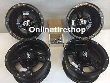 SET OF FOUR ITP SS112 Rims Matte Black 4- WHEELS SUZUKI LTZ250 LTZ400 LTR450 R