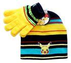PIKACHU POKEMON NINTENDO Boys Girls Knit Beanie Winter Hat  Gloves Set NWT 20