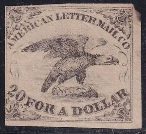 US STAMP BOB LOCAL #5L1 AMERICAN LETTER MAIL CO. 1844 5C BLACK MH/NG