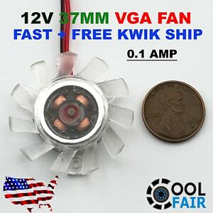 12V 37mm PC VGA Video Card Cooling Fan Heatsink Cooler Replacement 2Pin