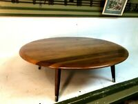 """Poland Mid-Century Modern End Table Round Coffee Low Profile Occassion 34"""" Table"""