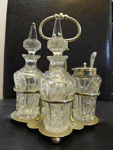 Art Deco Cut Glass Cruet Set on EPNS Silver Plate Stand 4 Bottles