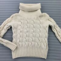 Brooks Brothers Womens Sweater Ivory Turtleneck Cable Knit Ribbed Merino Wool M