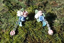 handMade Polymer clay posey flowers/Cubic zirconia Pierced Earrings