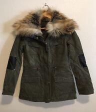 BNCI Blanc Noir Vintage Twill Parka Fur Leather Jacket Coat S $168 Anthropologie