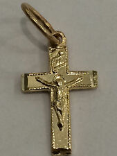 Religious 14k yellow  Gold Plain Jesus Crucifix Cross Pendant Charm Unisex Small