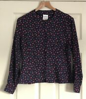 Vintage Eastex Blue Ditsy Paisley Print Blouse Size 12 Smart Casual Blogger