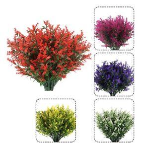 KüNstliche Lavendel Blumen Pflanzen 10 BüNdel Outdoor Kunststoff GrüN SträU U3J8