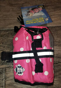New Paws Aboard Dog Life Jacket Vest Polka Dot Pink Size XXS Fits 0-6 Lbs