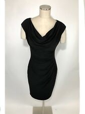 Ralph Lauren Dress Size 8 LBD Womens Black Sleeveless Cowl Neck Sheath Stretch