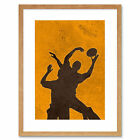 Painting Sport Rugby Football Silhouette Jump Framed Wall Art Print