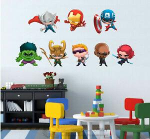 Marvel Avengers Team Up Wall Stickers Kids Boy Decor Vinyl Decal Art Mural Gift