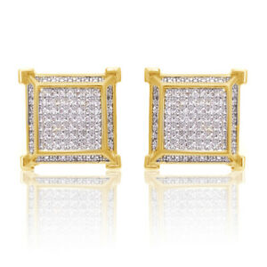 NEW MENS 18K YELLOW GOLD FINISH Diamond SCREW BACK STUD EARRINGS 10MM