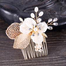 Beautiful Ladies Golden Leaf Crystal Pearl Women Hair Combs Hair Accessories