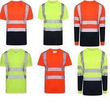 HI VIS VIZ ROUND V NECK T SHIRT VISIBILITY TAPE SAFETY SECURITY WORK TOP S - 5XL