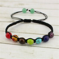 Adjustable 7 Chakra Natural Gems Stone Yoga Healing Agate Crystal Beads Bracelet