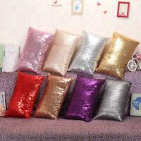Magic Glitter Sequins Pillow Case Throw Waist Cushion Cover Room Sofa Decor KK