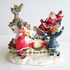 "Christmas Village Figurine SANTA PARADE FLOAT SLEIGH REINDEER GIRLS  2 3/4"""
