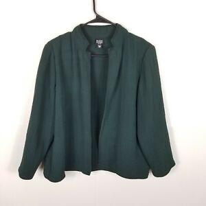 Eileen Fisher Women Textured Jacket Open Front Blazer Rayon Silk Green PM