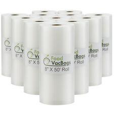"""TWELVE 8""""X50' 4 MIL FoodVacBags Embossed Vacuum Sealer Food Saver Rolls(1 CASE)"""