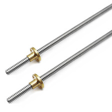 2pcs 500mm Tr8x2 Lead Screw With T8 Brass Nut For 3d Printer Machine Z Axisacme