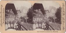 Grindelwald Jour du marché Suisse Switzerland Photo Stereo Vintage Citrate