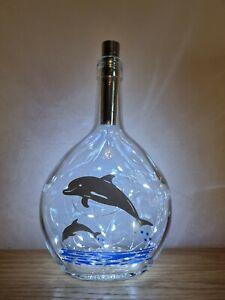Dolphin Themed Glass Bottle / Night Light / Lamp / Gift