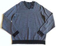 HART SCHAFFNER MARX $150 gray black extra fine merino wool v-neck sweater XL NWT