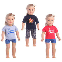 Doll Clothes Handmade T-shirt +Jeans Pants Accessories for 18inch Girl Doll