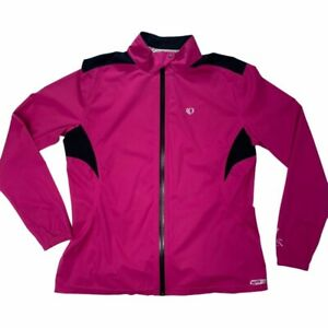 Pearl Izumi Womens Faux Leather Cycling Jacket Pink Zip Up Snap Lightweight XL