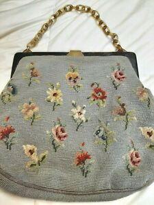 Antique Vintage Floral Gray Needlepoint Carpet Bag Purse