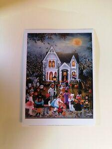 Modern Art Trick or Treat Sideshow Children 🎃  🦇  Halloween Greeting Postcard