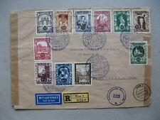 AUSTRIA, civil censored R-cover to the USA 1947, set stamps Art Expo Vienna