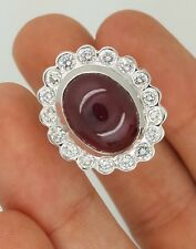 ESTATE 18K WHITE GOLD ROUND DIAMOND & NATURAL RED CABOCHON RUBY GEMSTONE RING VS