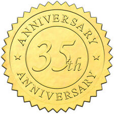"""Elegant GOLD embossed foil anniversry seals """"35th ANNIVERSARY"""" - 50 pack"""
