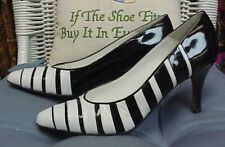 BALLY designer black/white leather/patent heels/pumps, sz. 8 Narrow