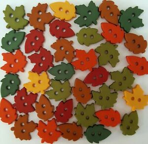 TINY RAKING LEAVES - Autumn Winter Fall Forest Sewing Dress It Up Craft Buttons