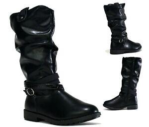 New Infants Girls Inside Zipper Grip Sole Slouch Knee Buckle School Boot UK Size