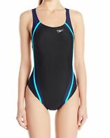 Speedo Womens Swimwear Black Blue Size 6 Creora Quantum Splice Swimsuit $78 031