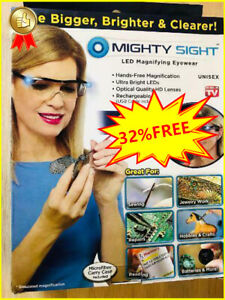 NEW Mighty Sight Led Magnifying Eyewear Glasses Original Box As Seen on TV