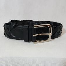 NEW Woolrich Lasso Braided Black Belt Silver Buckle Sz 32-38