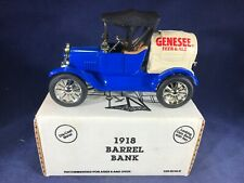 E3-72 ERTL 1:25 SCALE DIE CAST BANK - 1918 BARREL CAR - GENESEE BEER & ALE