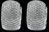 Silver Huggie Earrings Bling Hoop CZ Crystal Bridal Round Rhinestone Jewelry