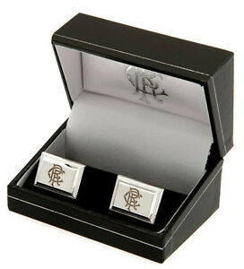 RANGERS FC SILVER PLATED SHIRT CUFFLINKS CUFF LINKS BLACK BOXED NEW GIFT XMAS